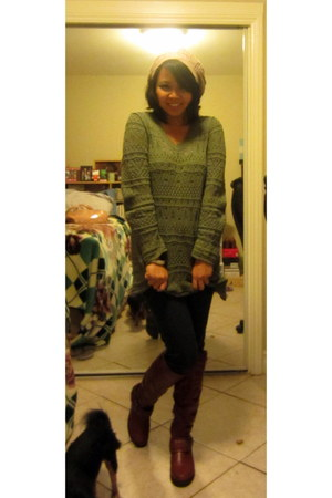 olive green kohls cardigan - tawny Charlotte Russe boots - navy H&M pants