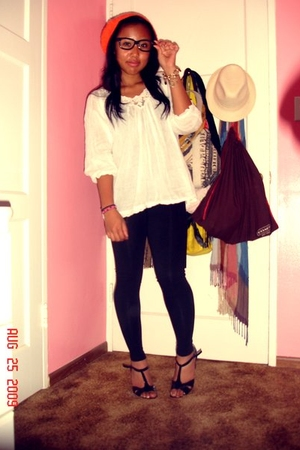 Heritage blouse - Forever21 leggings - Circa Joan&David - H&M hat - H&M bracelet