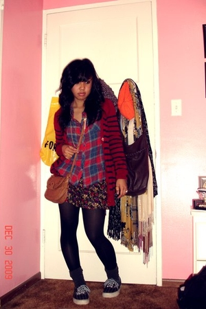 red Forever 21 cardigan - red Forever 21 shirt - black Forever 21 shorts - brown