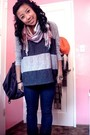 Gray-forever-21-top-brown-h-m-scarf-blue-forever-21-jacket