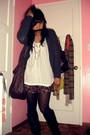 Gray-forever-21-sweater-white-heritage-blouse-black-forever-21-shorts-blac