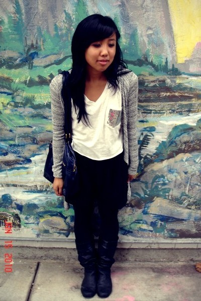 white shirt - black shorts - black boots - gray Forever 21 cardigan - blue H&M p