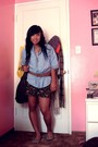 Blue-heritage-shirt-black-forever-21-shorts-beige-thrifted-shoes-brown-for