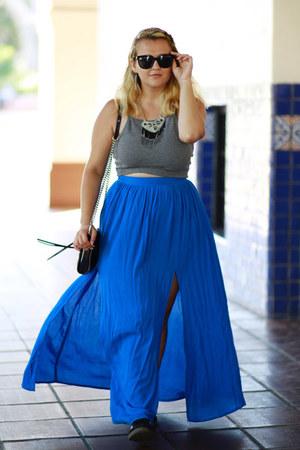 blue maxi Topshop skirt - black chain Rebecca Minkoff bag