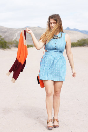 orange color block JCPenney cardigan - light blue cutout Wet Seal dress