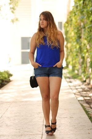 navy denim Forever 21 shorts - blue halter Charlotte Russe top