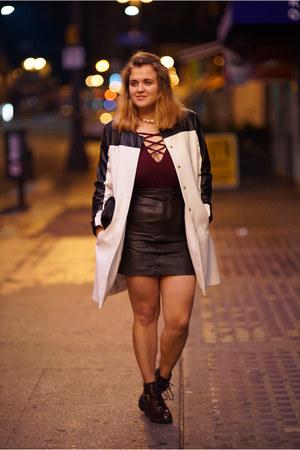 white statement Zara coat - magenta deep v Charlotte Russe bodysuit