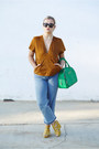Sky-blue-cropped-flare-h-m-jeans-green-top-handle-dkny-bag