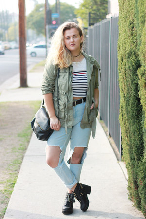light blue mom Topshop jeans - olive green utility Old Navy jacket