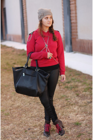 red detailed Rave hoodie - brown laced Charlotte Russe boots