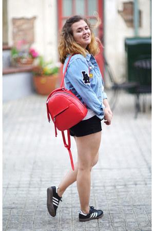 light blue denim Young & Reckless jacket - red backpack Zara bag