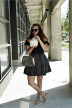 black bardot Target bodysuit - black striped thrifted from Crossroads skirt