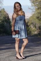 light blue flower print Bershka dress - pink ombre JEWELRY BOX necklace