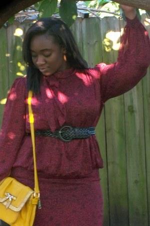 yellow bag - crimson peplum thrifted vintage dress - silver heels