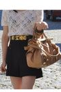 White-urban-outfitters-top-black-zara-shorts-gold-moschino-belt-beige-miu-