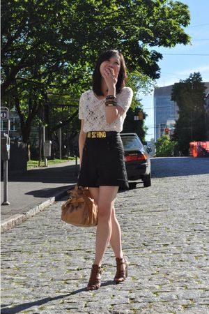 white Urban Outfitters top - black Zara shorts - gold Moschino belt - beige Miu