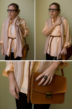 sweater - bag - belt - blouse - ring - glasses