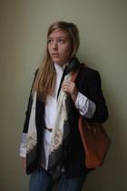 navy Zara blazer - tawny deposit bag - white deposit blouse - tawny H&M belt - b