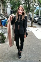 black Zara boots - tan coat - black printed lily Mulberry bag