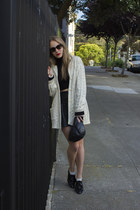 black andré shoes - black H&M hat - ivory rugby sweater - black top