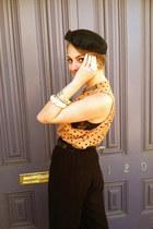 black vintage hat - orange thrifted blouse - black bailey44 pants