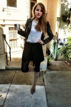 black old Topshop jacket - camel thrifted boots - white Zara t-shirt