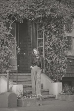 maroon vintage YSL blazer - gold TheySkens Theory pants - black sheer H&M blouse