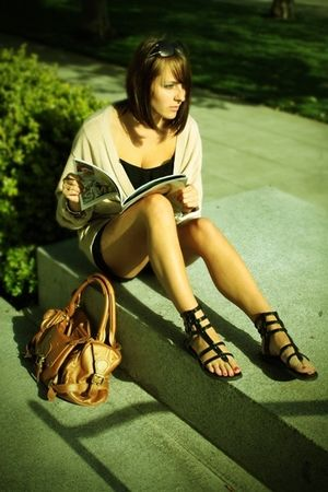 beige Club Monaco cardigan - black shirt - black Lux shorts - black Aldo shoes -