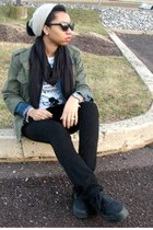black Levis jeans - beanie JCrew hat - olive green military jacket - t-shirt