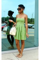 chartreuse dress - bag - cat-eye sunglasses