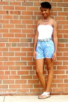 sky blue shorts - white bando top - white leather Clarks sandals