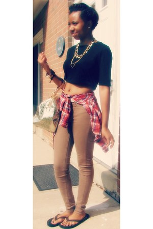 flip flop Armani Exchange shoes - MNG pants - plaid skirt