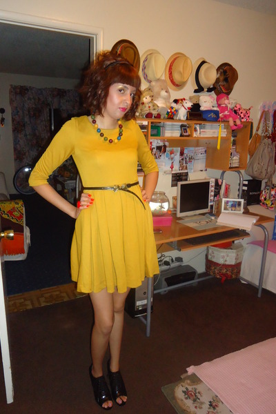 yellow H&M dress - bow f21 belt
