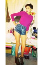 high waisted foreign exchange shorts - deep brown Jeffrey Campbell heels