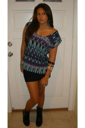 Macys top - Forever 21 skirt - Walmart boots