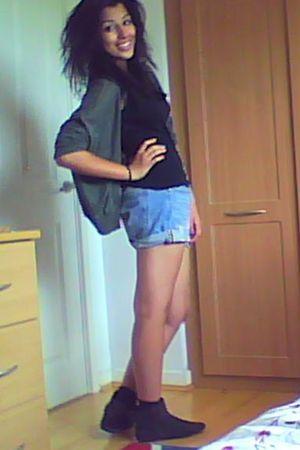 gray Topshop boots - black Primark - blue Zara shorts - green Topshop cardigan