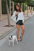 Disaster Designs bag - suiteblanco shorts - Stradivarius top - Primark sandals