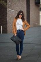high waisted H&M jeans - Bershka blazer - leopard print h&m divided heels