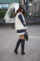 plaid PERSUNMALL dress - faux fur H&M vest