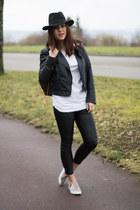 H&M hat - Zara leggings - Louis Vuitton bag - slip on H&M sneakers