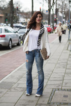earcuff H&M earrings - ripped Stradivarius jeans - New Yorker blazer