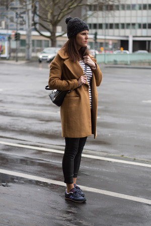 camel Zara coat - New Balance sneakers