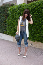white suiteblanco vest - suiteblanco jeans - Zara t-shirt