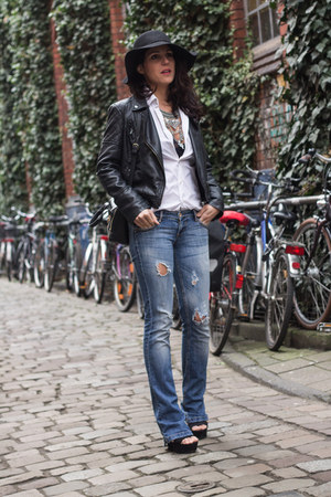 Bershka necklace - Stradivarius jeans - biker suiteblanco jacket