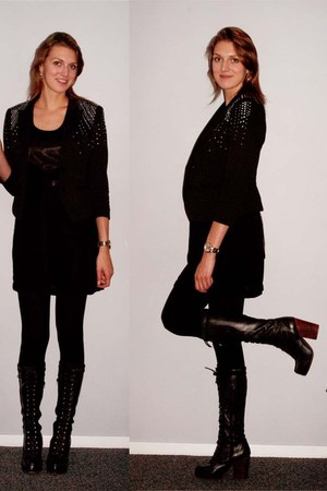 black Principles dress - navy Jeffrey Campbell boots - black H&M blazer