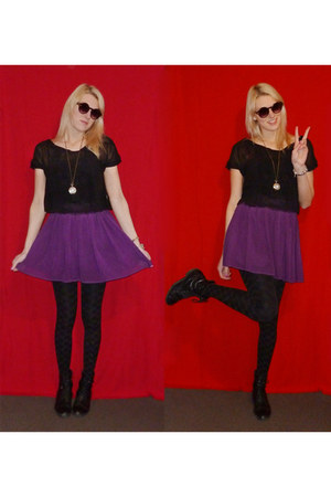 purple handmade skirt - black boots - black jennyfer blazer