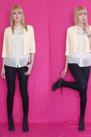 peach asos blazer - black Lee jeans - white Glassons top