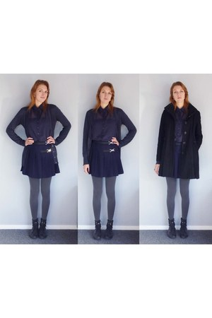 navy supre shirt - black asos coat - navy The warehouse cardigan