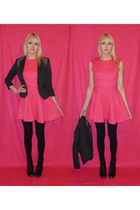 black boots - hot pink asos dress - black H&M blazer