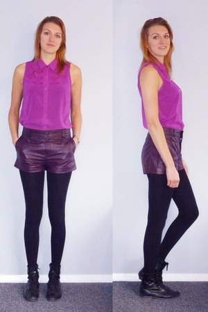 black Overland boots - amethyst cotton on shirt - deep purple asoscom shorts